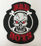 BAD BOYS SKULL 3 INCH PATCH (Sold by the piece OR dozen ) *-CLOSEOUT AS LOW AS 50 CENTS EA