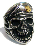 SKULL WITH IRON CROSS BERET HAT STAINLESS STEEL BIKER RING ( sold by the piece )