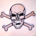JUMBO BACK 10 INCH PATCH SKULL X BONE (Sold by the piece) * CLOSEOUT NOW $ 4.95 EA