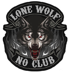 jumbo 11 inch LONE WOLF CLUB JUMBO PATCH (Sold by the piece)
