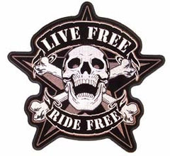 LIVE FREE SKULL BONES JUMBO PATCH (Sold by the piece)