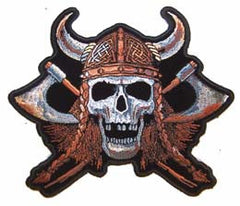 VIKING SKULL AXES JUMBO 6 INCH PATCH (Sold by the piece)