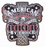 JUMBO AMERICAN BY BIRTH BIKER BY CHOICE PATCH 10 INCH (Sold by the piece)