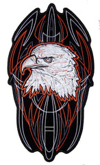 JUMBO PINSTRIPE EAGLE HEAD  EMBROIDERED PATCH 10 INCH (Sold by the piece)