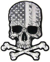 JUMBO SKULL X BONES USA FLAG B & W  EMBROIDERED PATCH 10 INCH (Sold by the piece)