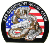 JUMBO 2ND AMENDMENT RATTLESNAKE EMBROIDERED PATCH 9 INCH (Sold by the piece)
