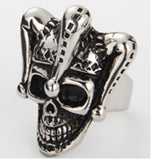 JESTER CLOWN SKULL HEAD & HAT STAINLESS STEEL BIKER RING ( sold by the piece )