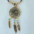 WARRIOR HEAD DREAM CATCHER ROPE NECKLACE (Sold by the dozen) *- CLOSEOUT $1 EA