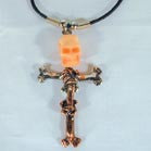 3-D MULITCOLOR SKULL AND CROSS ROPE 18 IN NECKLACE (Sold by the dozen)