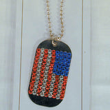 AMERICAN FLAG CRYSTAL DOG TAG JEWEL BALL CHAIN NECKLACE (Sold by the PIECE OR dozen)