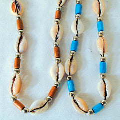 REAL COW SEA SHELL NECKLACE WITH BEADS (Sold by the piece or dozen) CLOSEOUT $ 1 EA