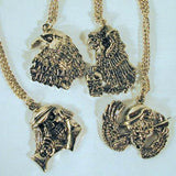 ASSORTED BIKER PENDANT ON CHAIN NECKLACE (Sold by the PIECE OR dozen)