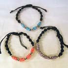 ASSORTED FIMO BLACK ROPE BRACELETS (Sold by the dozen)
