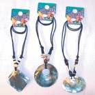 LARGE SHELL SHOCK PENDANT ON ROPE NECKLACES  (Sold by the dozen) *- CLOSEOUT $ 1 EA