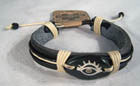 CARVED BONE LEATHER EYE BRACELET (Sold by the PIECE OR dozen) *- CLOSEOUT AS LOW AS 50 CENTS EA