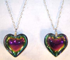 LARGE RAINBOW HEART CHAIN NECKLACE (Sold by the PIECE OR dozen) CLOSEOUT $1 EA