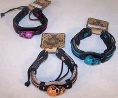 SKULL HEAD LEATHER BRACELETS (Sold by the PIECE OR dozen) *- CLOSEOUT AS LOW AS 75 CENTS EA