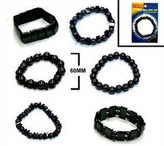 CARDED HEMATITE ASSORTED MAGNETIC BRACELETS (Sold by the piece or dozen)