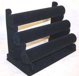 THREE LEVEL BLACK VELVET BRACELET DISPLAY RACK (Sold by the piece) CLOSEOUT NOW $ 12.50 EA