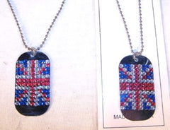 BRITISH DOG TAG CRYSTAL NECKLACE WITH JEWELS  (Sold by the PIECE OR dozen) CLOSEOUT NOW ONLY 50 CENTS