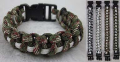 CAMOFLAUGED WHITE STRIP PARACORD BRACELETS  (Sold by the PIECE OR dozen) - CLOSEOUT $1 EA