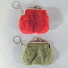 GIRLS FUZZY COIN CLUTCH PURSE KEY CHAIN (Sold by the dozen) NOW ONLY 25 CENTS EACH