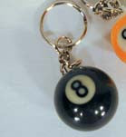 BILLIARD POOL BALL BLACK EIGHT BALL KEY CHAIN (Sold by the dozen)
