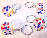 TRANSPARENT DICE KEY CHAIN (Sold by the dozen) - CLOSEOUT  NOW ONLY 25 CENTS EACH