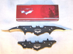 BLACK BAT MAN 7 INCH DOUBLE BLADE BLACK KNIFE (Sold by the piece) CLOSEOUT NOW $ 4.75 EA