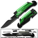 GREEN ( 5 IN 1 ) SURVIVAL FOLDING POCKET KNIFE  ( sold by the piece )