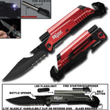 RED ( 5 IN 1 ) SURVIVAL FOLDING POCKET KNIFE  ( sold by the piece )
