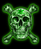 GREEN SKULL AND CROSS BONE POT LEAF TEE SHIRT ( sold by the piece )  *- CLOSEOUT AS LOW AS $ 2.95 EA
