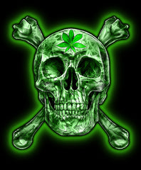 GREEN SKULL AND CROSS BONE POT LEAF TEE SHIRT ( sold by the piece or dozen)