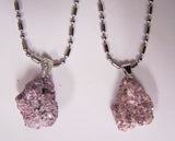 LEPIDOLITE ROUGH NATURAL MINERAL STONE STAINLESS STEEL BALL CHAIN NECKLACE (sold by the piece or dozen  )