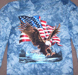 TYE DYE USA EAGLE LONG SLEEVE TEE SHIRT (Sold by the piece) ** CLOSEOUT $ 4.50 EA-- XL ONLY