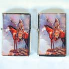 CHIEF ON HORSE FLIP TOP flip top oil LIGHTER (Sold by the piece or  dozen)