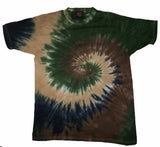 LIGHT CAMOUFLAGE RAINBOW SWIRL TIE DYED TEE SHIRT ( sold by the piece )