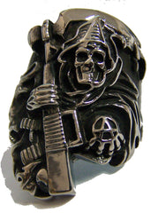 ANARCHY GRIM REAPER W MACHINE GUN STAINLESS STEEL BIKER RING ( sold by the piece )