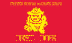 USMC MARINES BULL DOG ( DEVIL DOG ) 3' X 5' FLAG (Sold by the piece)