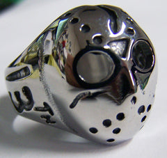 JASON MONSTER HOCKEY MASK STAINLESS STEEL BIKER RING ( sold by the piece )