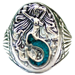 INLAYED MERMAID BIKER RING (Sold by the piece)
