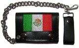 EMBROIDERED MEXICO FLAG TRIFOLD LEATHER WALLET WITH CHAIN (Sold by the piece)