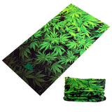 MARIJUANA POT LEAVES MULTI FUNCTION SEAMLESS BANDANA WRAP ( sold by the piece or dozen )