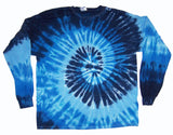MULTI BLUE SWIRL LONG SLEEVE TYE DYE TEE SHIRT ( sold by the piece ) SIZE SMALL ONLY * CLOSEOUT NOW ONLY $ 4.95 EA