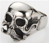 SKULL HEAD WITH MUSTACHE STAINLESS STEEL BIKER RING ( sold by the piece )