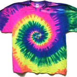 NEON FLORESCENT RAINBOW  TYE DYE TEE SHIRT (Sold by the piece)