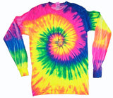 NEON RAINBOW SWIRL LONG SLEEVE TYE DYE TEE SHIRT ( sold by the piece )