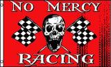 NO MERCY RACING SKULL X BONE CHECKERED 3 X 5 FLAG ( sold by the piece )