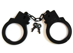 BLACK PLASTIC HANDCUFFS WITH KEYS (Sold by the dozen)