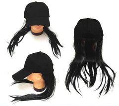 BASEBALL HAT WITH LONG BLACK HAIR (Sold by the piece)
